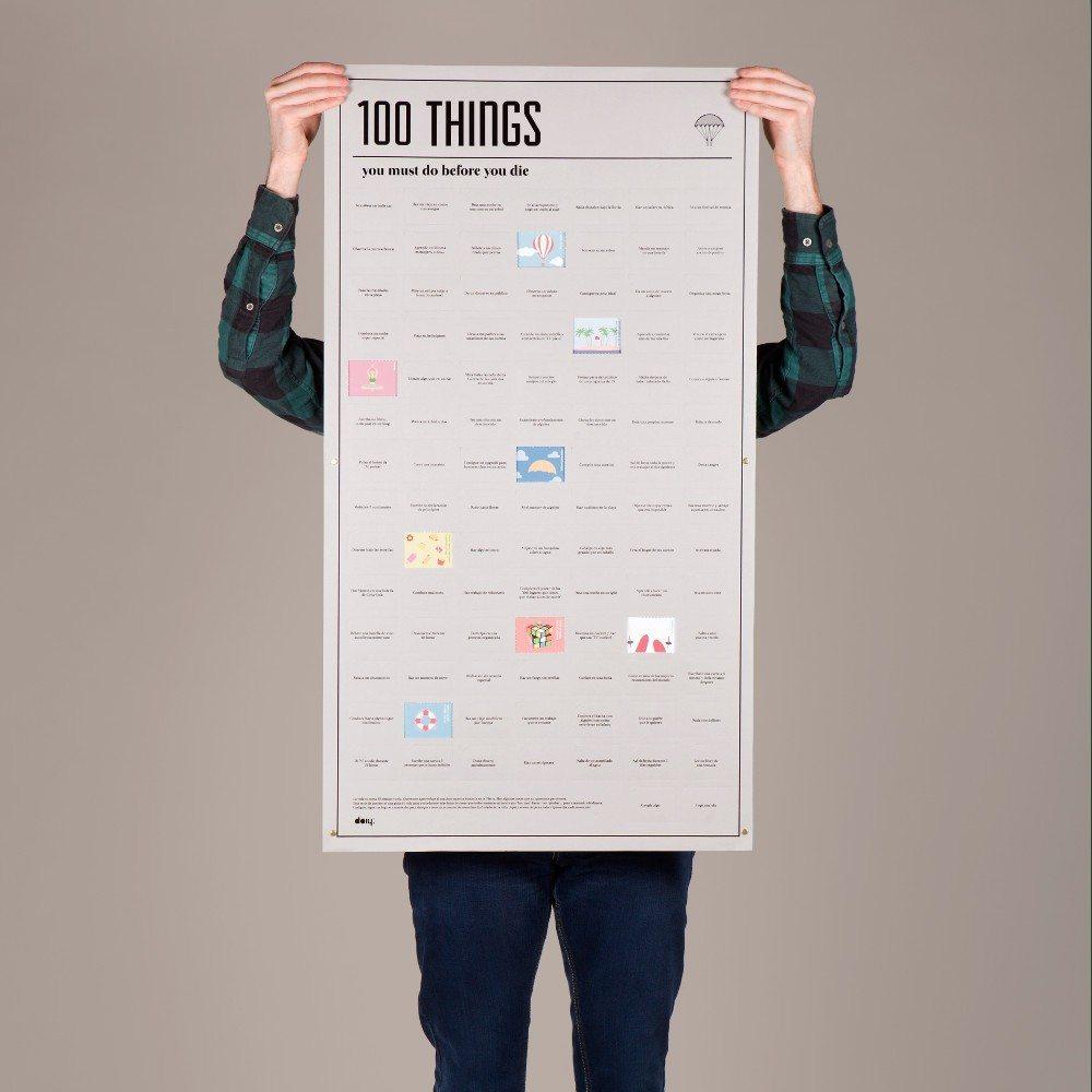 poster 100 choses faire avant de mourir cadeau fun. Black Bedroom Furniture Sets. Home Design Ideas