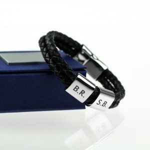 Bracelet en cuir tressé - initiales