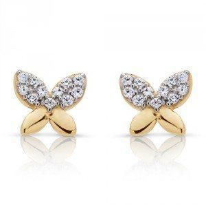 Clous d'oreilles papillons et strass