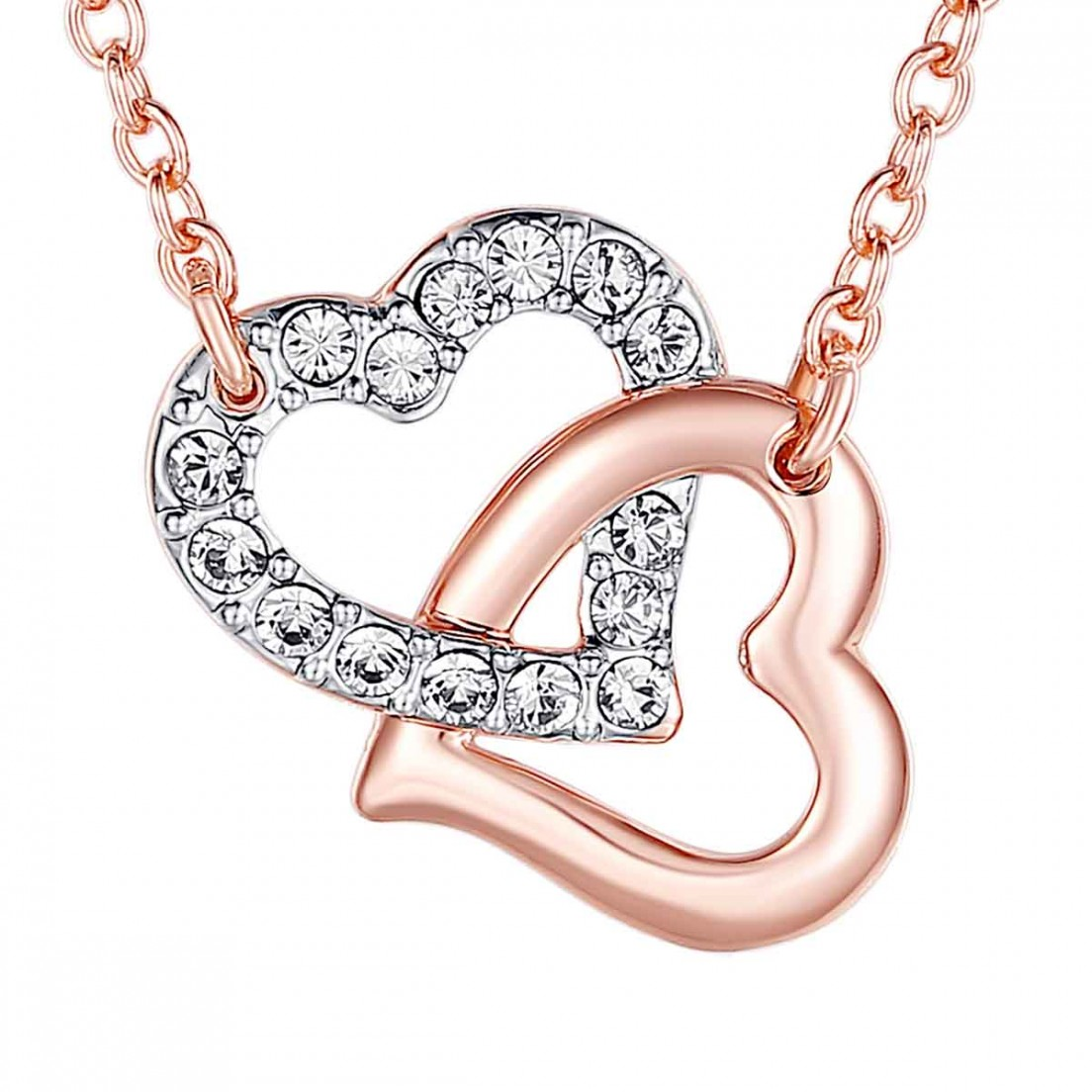 Collier - Coeurs avec cristaux Swarovski | Ideecadeau.fr